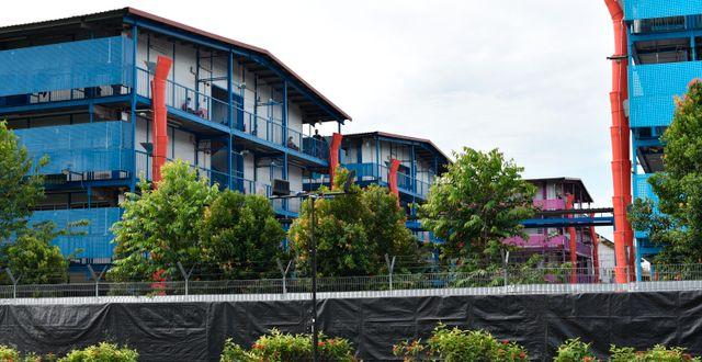 Människor på balkonger i ett bostadskomplex i Singapore. Illustrationsbild. YK Chan / TT NYHETSBYRÅN