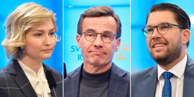 Ebba Busch Thor (KD), Ulf Kristersson (M) och Jimmie Åkesson (SD).