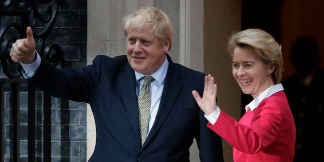 Brittiske premiärministern Boris Johnson och EU-chefen Ursula von der Leyen. Arkivbild. Matt Dunham / TT NYHETSBYRÅN