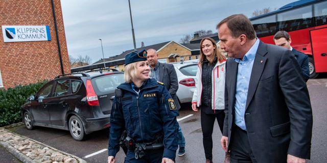 Statsminister Stefan Löfven under ett besök i Klippan på onsdagen.  Johan Nilsson/TT / TT NYHETSBYRÅN