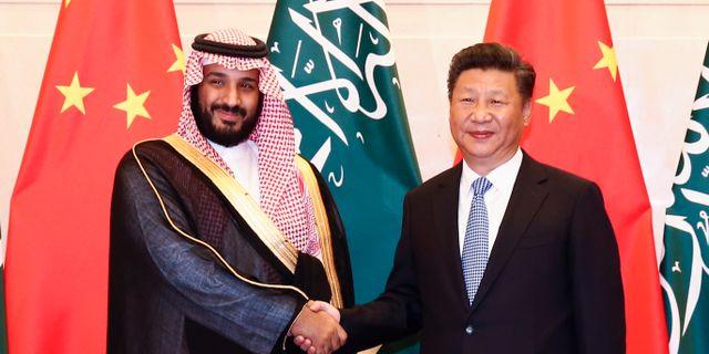 Mohammad bin Salman och Xi Jinping. Rolex Dela Pena / TT NYHETSBYRÅN