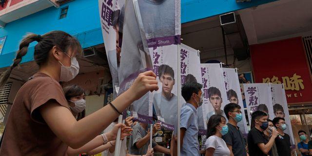 Hongkongprotester. Vincent Yu / TT NYHETSBYRÅN