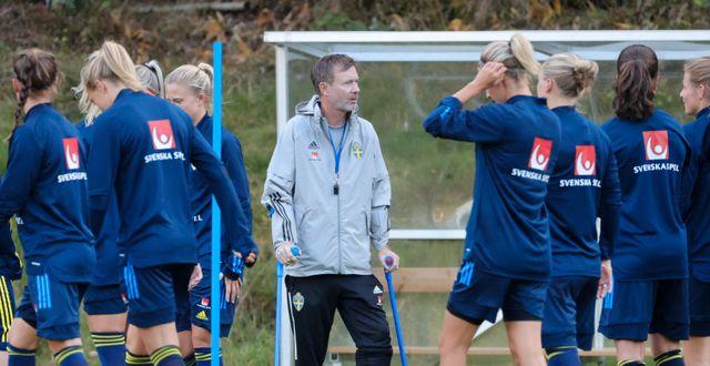 Damlandslaget med Gerhardsson under träning Adam Ihse/TT / TT NYHETSBYRÅN