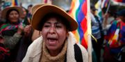 Anhängare till Morales demonstrerar i El Alto. Natacha Pisarenko / TT NYHETSBYRÅN