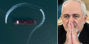 Bilden visar hur en mindre iransk båt gör en sväng runt fartyget som senare beslagtogs/arkivbild på Zarif. TT
