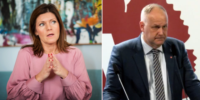 Eva Nordmark. Bild på Sjöstedt från dagens pressträff. TT/Vänsterpartiet