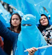 Uigurer i Turkiet som protesterar mot Kina. Lefteris Pitarakis / TT NYHETSBYRÅN