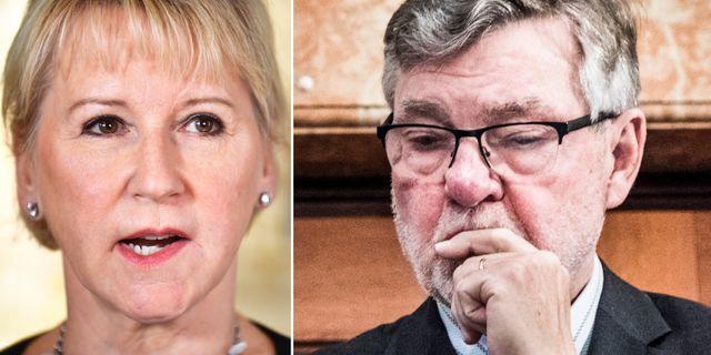 Utrikesminister Margot Wallström och Försvarsberedningens ordförande Björn von Sydow. TT