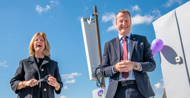 Allison Kirkby, vd och koncernchef Telia Company invigningstalade tillsammans med Anders Ygeman, energi- och digitaliseringsminister. Jonas Ekströmer/TT / TT NYHETSBYRÅN