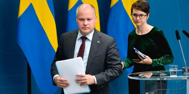 Morgan Johansson under en pressträff i maj. Anders Wiklund/TT / TT NYHETSBYRÅN