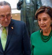 Senator Chuck Schumer tillsammans med representanthusets talman Nancy Pelosi. Susan Walsh / TT NYHETSBYRÅN