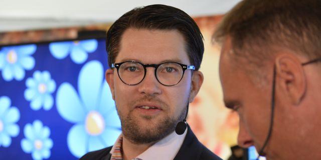 SD:s partiledare Jimmie Åkesson med tidigare SD-ledamoten Stefan Jakobsson. Henrik Montgomery/TT / TT NYHETSBYRÅN