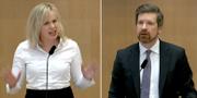 Mikael Damsgaard (M) och Linda Snecker (V) under dagens riksdagsdebatt. TT