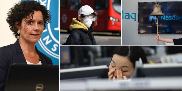 KI:s prognoschef Ylva Hedén Westerdahl, kvinna med munskydd i London, valutahandlare i Seoul, börsklockan på Nasdaq Stockholm. TT