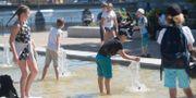 Barn svalkar sig i en fontän. Fredrik Sandberg/TT / TT NYHETSBYRÅN