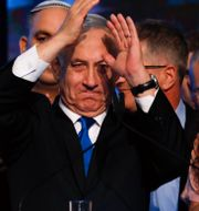 Benjamin Netanyahu talade inför supportrar i onsdags.  Ariel Schalit / TT NYHETSBYRÅN