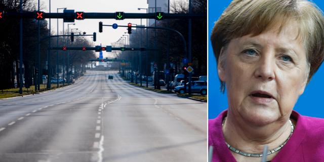 Öde gator i Berlin/Angela Merkel. TT