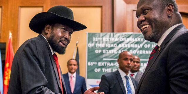 Presidenten Salva Kiir och rebelledaren Riek Machar. Arkivbild. Mulugeta Ayene / TT NYHETSBYRÅN