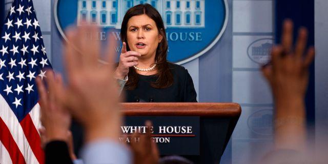 Vita husets presschef Sarah Huckabee Sanders. Evan Vucci / TT / NTB Scanpix
