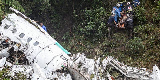 Flygplansvraket efter kraschen den 28 november. RAUL ARBOLEDA / STR