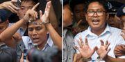 Kyaw Soe Oo, left och Wa Lone. Thein Zaw / TT NYHETSBYRÅN