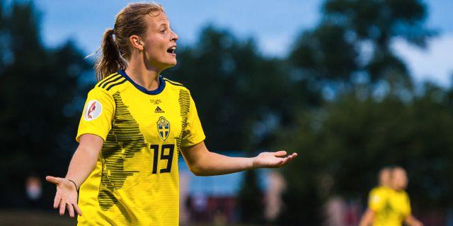 Anna Anvegård i matchen mot Lettland den 3 september. SIMON HASTEGÅRD / BILDBYRÅN