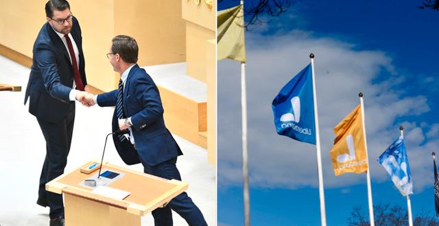 Jimmie Åkesson och Ulf Kristersson samt Liberalernas flagga.  TT