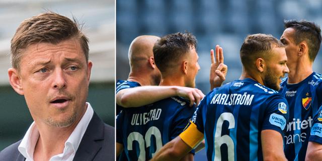 Malmös danske tränare Jon Dahl Tomasson / Djurgårdsspelare jublar under matchen mot Kalmar. Bildbyrån.
