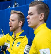 Fredrik Lindberg, Niklas Edin och Christoffer Sundgren.  Paul Chiasson / TT NYHETSBYRÅN