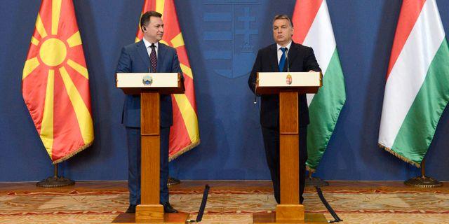 Nikola Gruevski och Viktor Orbán. Lajos Soos / TT NYHETSBYRÅN/ NTB Scanpix