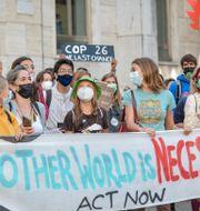 Greta Thunberg under en klimatstrejk i Milano 1 oktober 2021.  Claudio Furlan / TT NYHETSBYRÅN