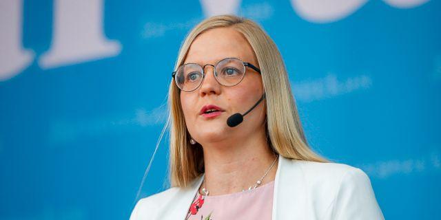 Julia Kronlid, vice partiordförande för Sverigedemokraterna.  Nils Petter Nilsson/TT / TT NYHETSBYRÅN
