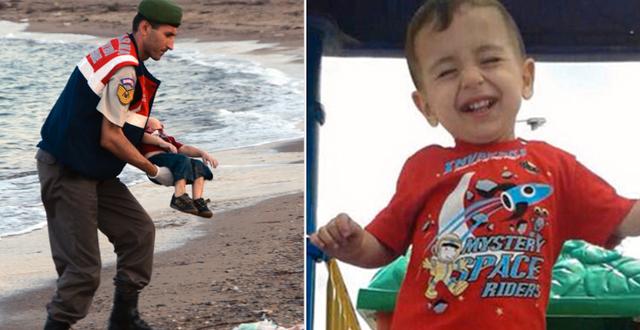 Kurdis kropp bärs av grekisk polis/Alan Kurdi. TT