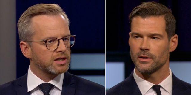 Inrikesminister Mikael Damberg och Moderaternas rättspolitiske talesperson Johan Forssell i Agendastudion. SVT