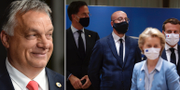 Viktor Orbán och flera EU-toppar. TT