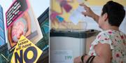 Anti-abortkampanj på Irland/En kvinna lägger sin röst i folkomröstningen. TT