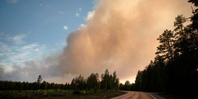 Skogsbrand vid Kårböle strax utanför Ljusdal härjade på söndagskvällen. Mats Andersson/TT / TT NYHETSBYRÅN