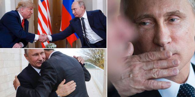 Putin skakar hand med Trump, kramar al-Assad och ger en slängkyss. TT