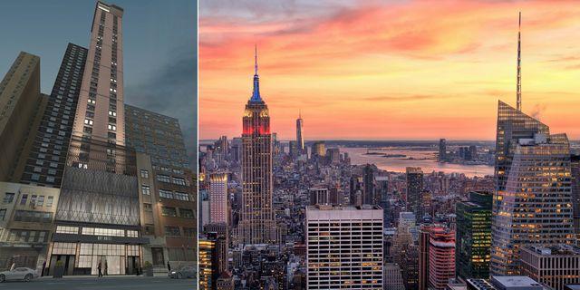 New Yorks högsta takbar kommer att ligga på toppen av nya Aliz Hotel Times Square på 310 West 40th Street. Aliz Hotel Times Square / Shutterstock