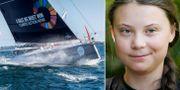 Greta Thunberg och båten hon ska resa med.  TT
