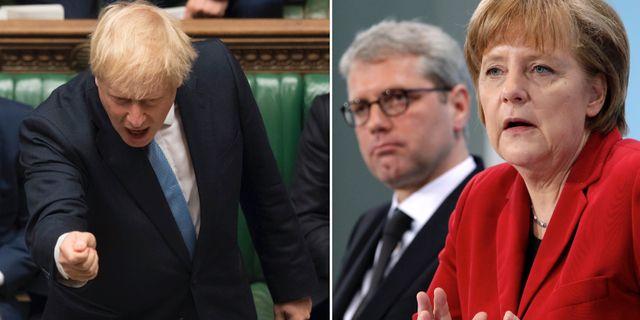 Boris Johnson, Norbert Roettgen jämte förbundskansler Angela Merkel.  TT