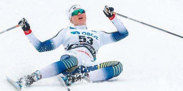 Maja Dahlqvist går i mål efter ett lopp i mars. DANIEL ERIKSSON / BILDBYRÅN