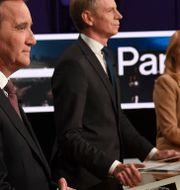 Stefan Löfven (S), Per Bolund (MP), Annie Lööf (C) och Nyamko Sabuni (L) stod på samma sida i partiledardebatten igår. Fredrik Sandberg/TT / TT NYHETSBYRÅN