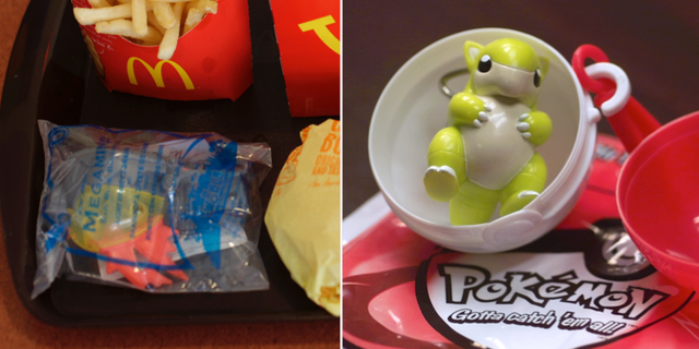 Plastleksaker hos McDonalds och Burger King. TT
