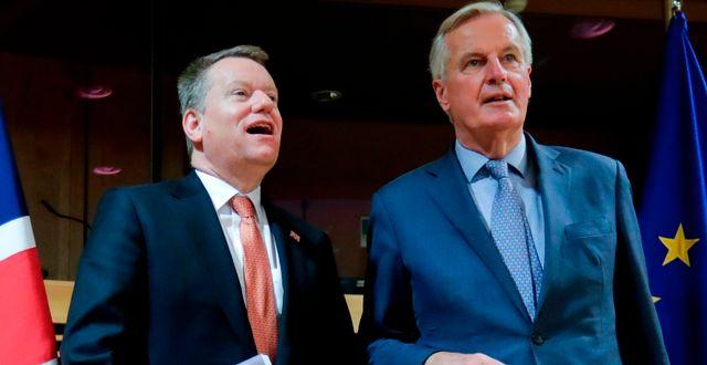 Arkivbild: Storbritanniens förhandlare David Frost och EU:s förhandlare Michel Barnier OLIVIER HOSLET / TT NYHETSBYRÅN