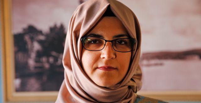 Hatice Cengiz i Istanbul idag. Lefteris Pitarakis / TT NYHETSBYRÅN