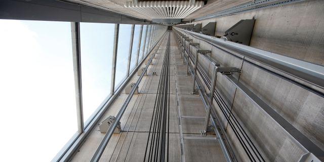 Hisschakt i Thyssenkrupp testtorn i Rottweil, Tyskland. Michaela Rehle / TT NYHETSBYRÅN