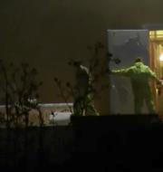 Foto från videon där en höna kläms till döds i en dörr.  Foto från Djurrättsalliansen