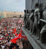 Protester efter presidentvalet i Belarus. Dmitri Lovetsky / TT NYHETSBYRÅN