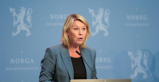 Norges justitieminister Monica Mæland. Annika Byrde / TT NYHETSBYRÅN